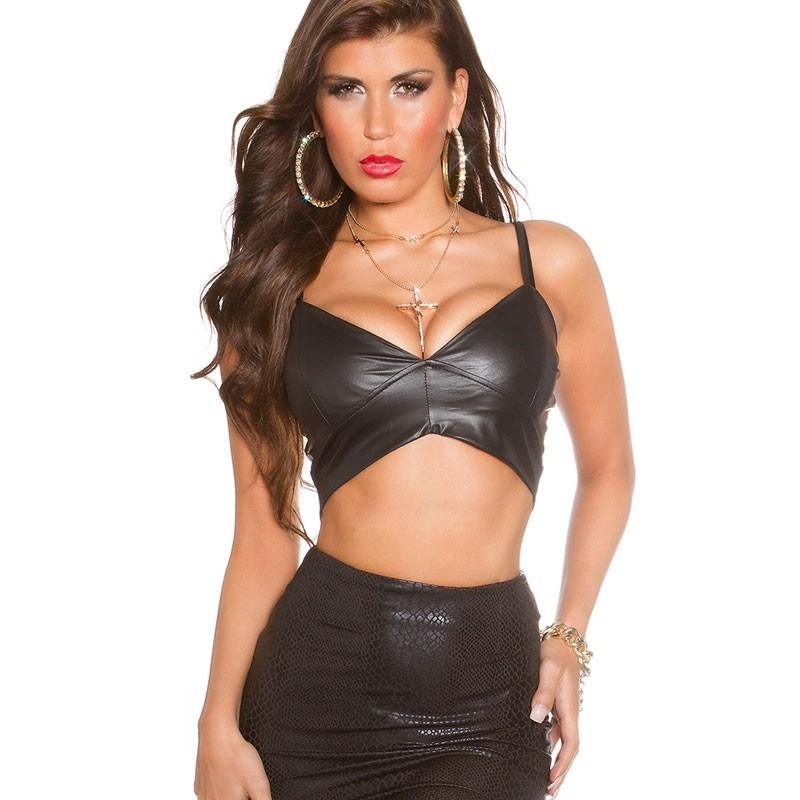 23eb8e5d8e19f Sexy Leather Look Bustier Crop Top - Black
