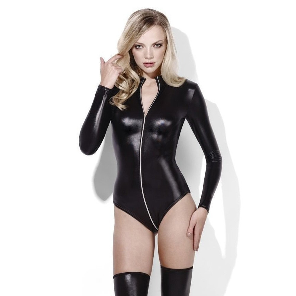 97cc2f3c2ac Fever Miss Whiplash Leather Look Zip-Through Bodysuit ...