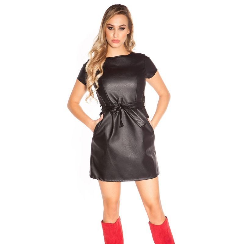 8a35f8262e KouCla Faux Leather Belted Dress - Black