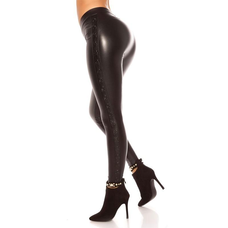 76507d05ef4 KouCla Leather Look Leggings With Skull Rivets - Black