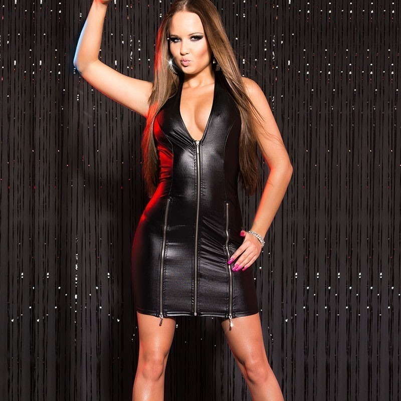 4a7184389e8 KouCla Leather Look Zip Front Mini Dress - Black