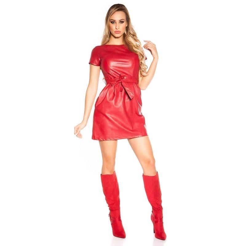 54134fad06 KouCla Faux Leather Belted Dress - Red