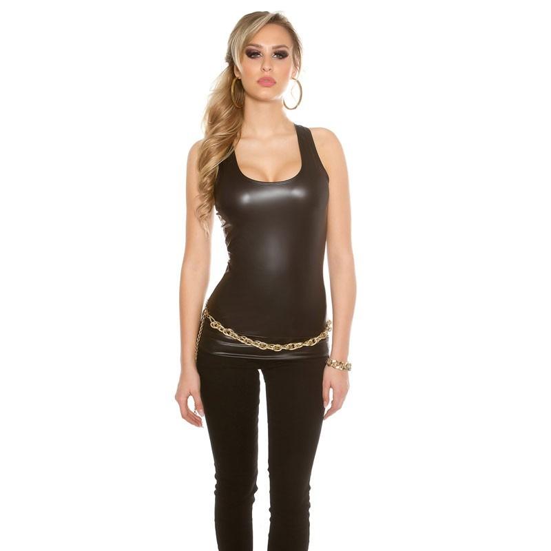 b88ddfa7771684 ... KouCla Leather Look Tank Top