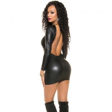 Koucla Leather Look Mini Dress With Full Back Zip Black