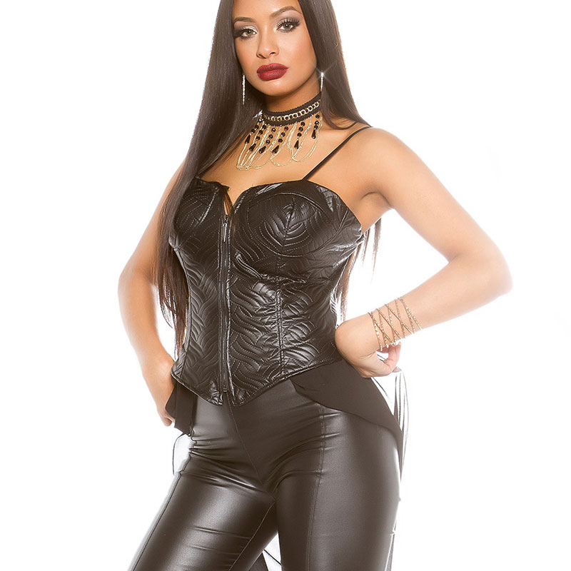 KouCla Leather Look High Low Bustier With Mesh Tail And Front Zip Black