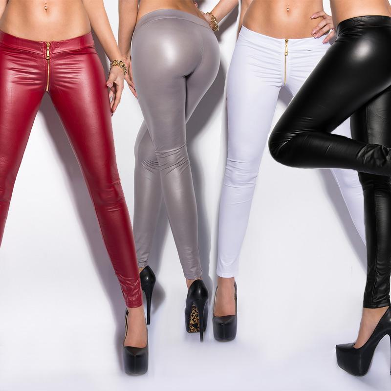 Black KouCla Leather Look Leggings With Skull Rivets Slim Fit