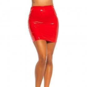 KouCla Latex Look High Waist Mini Skirt - Red