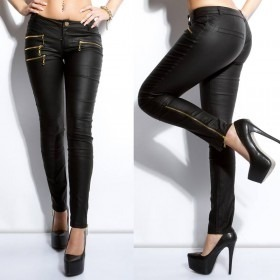 KouCla Leather Look Skinny Trousers With Side Zips - Black