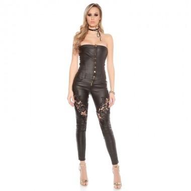 KouCla Leather Look Bandeau Jumpsuit - Black
