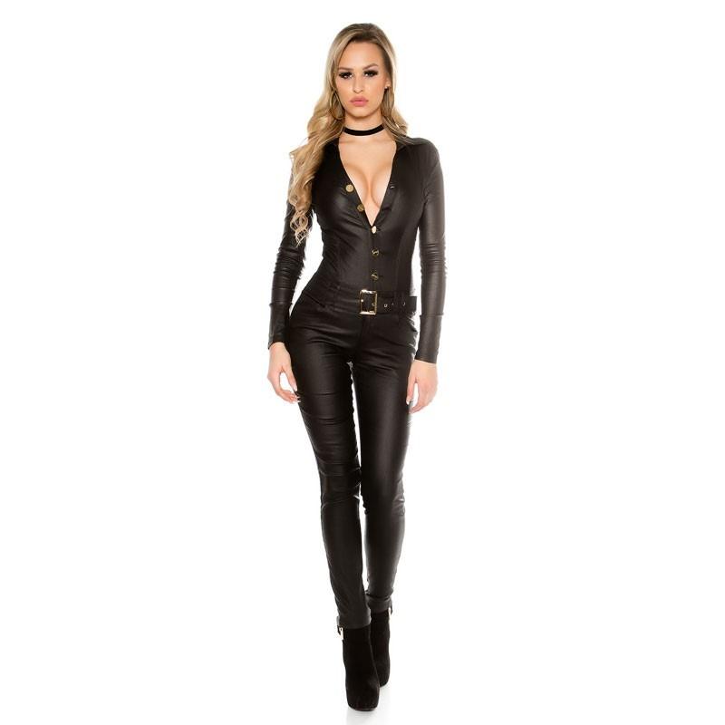 KouCla Leather Look Long Sleeve Jumpsuit - Black