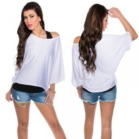 KouCla 2in1 Loose Bat Sleeve Top Casual Blouse - OS - White