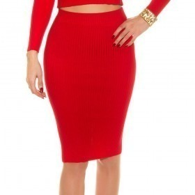 KouCla Soft Knit Pencil Skirt With Full Back Zip - Red