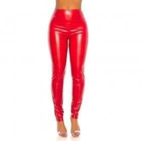 KouCla High Waist Leather Look Trousers - Red
