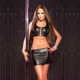 KouCla Leather Look Mini Skirt & Top Set With Buckles - Black
