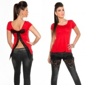 Women's Open Back T-Shirt With Bow in Clubwear Style - Red