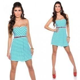 KouCla Striped Bandeau Mini Dress With Belt - Turquoise