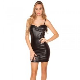 KouCla Leather Look Spaghetti Strap Mini Dress - Black