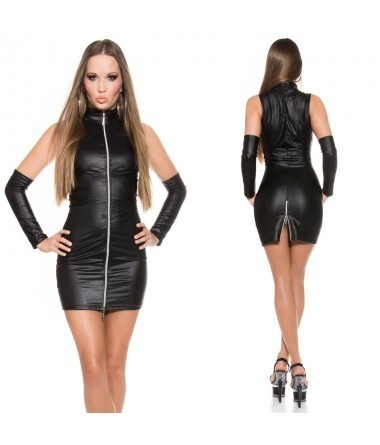 KouCla Leather Look Zip Front Dress With Gloves - Black