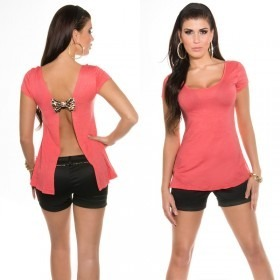 KouCla Open Back T-shirt With Bow - Coral
