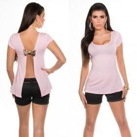 KouCla Open Back T-shirt With Bow - Light Pink