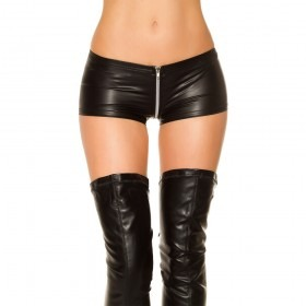 KouCla GoGo Crotch Zip Leather Look Shorts - Black