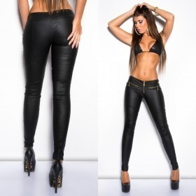 KouCla Leather Look Hot Skinny Trousers - Black