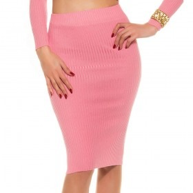 KouCla Soft Knit Pencil Skirt With Full Back Zip - Coral
