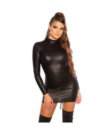 KouCla Latex Look Ruched Mini Dress - Black
