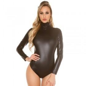 KouCla Leather Look Long Sleeve Bodysuit - Black