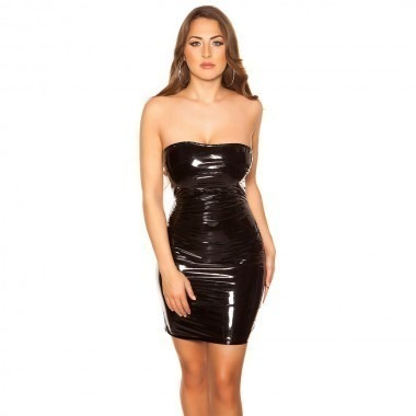 KouCla Latex Look Bandeau Mini Dress - Black