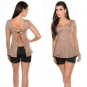 KouCla Open Back T-shirt With Bow - Cappuccino
