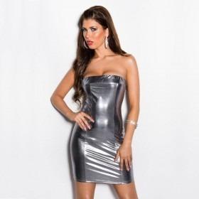 KouCla Leather Look Bandeau Mini Dress - Silver