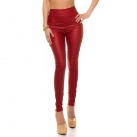KouCla High Waist Leather Look Skinny Trousers - Red