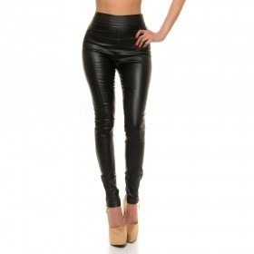 KouCla High Waist Leather Look Skinny Trousers - Black