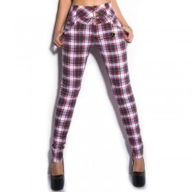 KouCla High Waisted Tartan Jeans Trousers