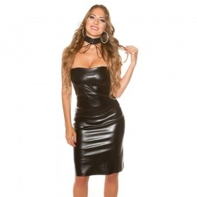 KouCla Faux Leather Bandeau Mini Dress - Black