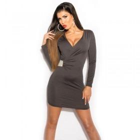 KouCla Wrap Over Bodycon Mini Dress - Dark Grey