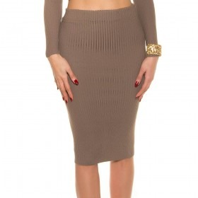 KouCla Soft Knit Pencil Skirt With Full Back Zip - Cappuccino