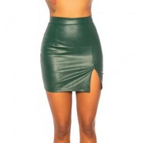 KouCla Leather Look Side Slit Mini Skirt - Green