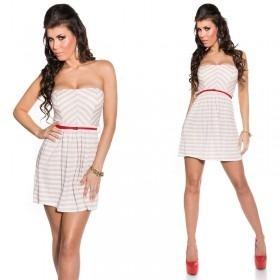 KouCla Striped Bandeau Mini Dress With Belt - Beige