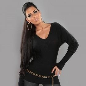 KouCla Split Back Sweater With Bows - Black