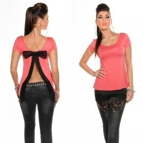 Women's Open Back T-Shirt With Bow in Clubwear Style - Salmon