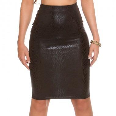 KouCla Leather Look Pencil Skirt - Black Snake