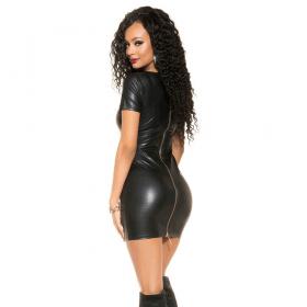 KouCla Leather Look Mini Dress With Full Back Zip - Black