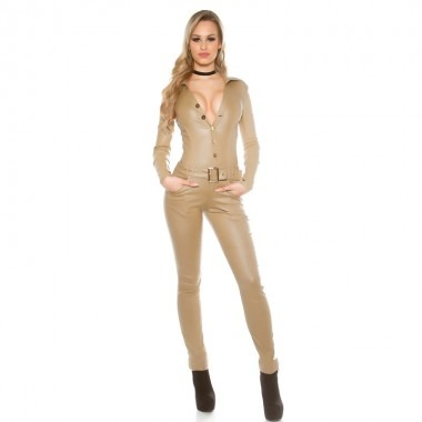 KouCla Leather Look Long Sleeve Jumpsuit - Beige