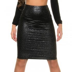 KouCla Leather Look Pencil Skirt - Black Leo