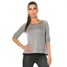 KouCla High Low Mesh Panel Sweater - Black
