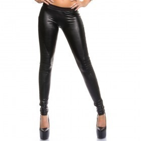 KouCla Leather Look Back Zip Trousers - Black