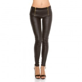 KouCla Zip Front Leather Look Trousers - Black