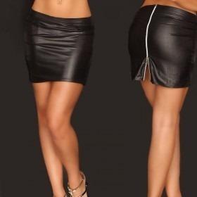 KouCla Leather Look Mini Skirt - Black